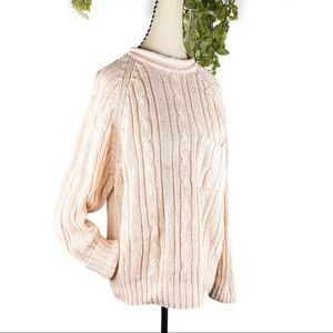 VTG Chunky Cable Knit Pullover Sweater Pink Blush
